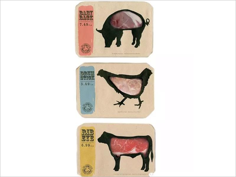 日本肉食纸盒包装设计---动物的造型与肉食实物相结合