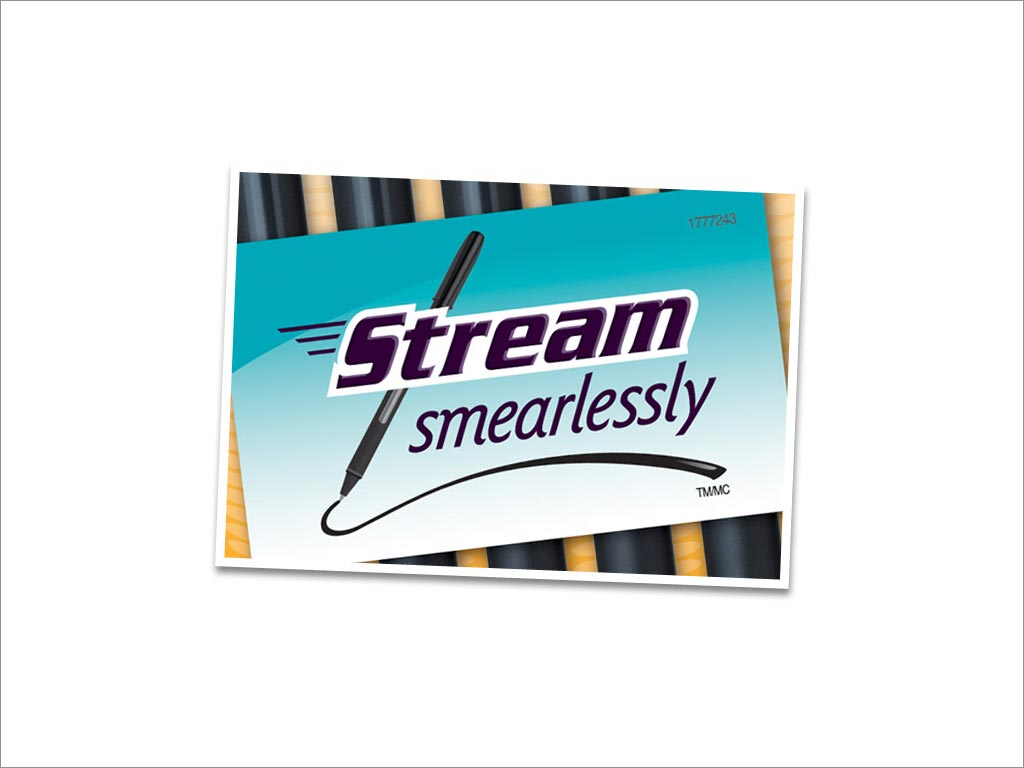 美国uniball Jetstream 101 品牌广告语Stream Smearlessly设计